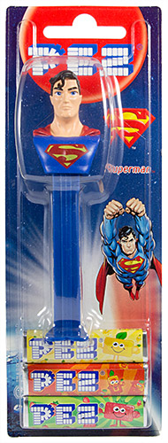 PEZ - Card MOC -Justice League - Superman - dull logo, long eyebrow - A