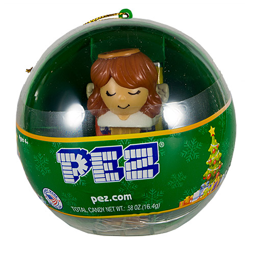 PEZ - Card MOC -Mini PEZ - Angel - Brown hair, Ornaments ball - C