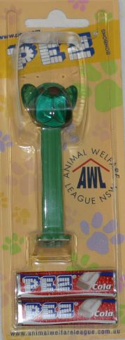 PEZ - AWL / SOS - Crystal - Barky Brown - Crystal Green Head