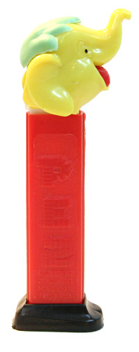 PEZ - Circus - Big Top Elephant (with Hair) - Yellow/Aqua/Red