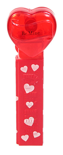 PEZ - Valentine - Be Mine - Nonitalic Black on Crystal Red
