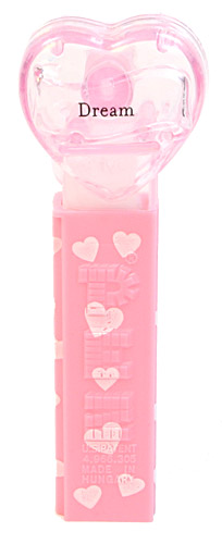 PEZ - Hearts - Valentine - Dream - Nonitalic Black on Crystal Pink
