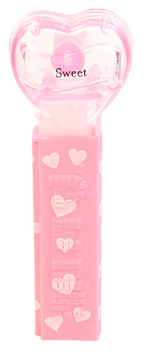 PEZ - Hearts - Valentine - Sweet - Nonitalic Black on Crystal Pink