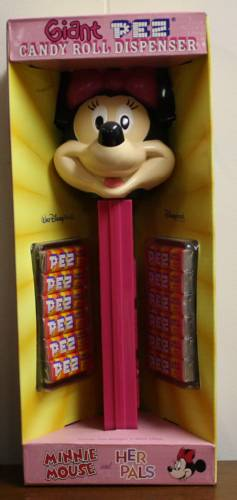 PEZ - Disney - Minnie Mouse - etched eyes, large pupils, red bow - A