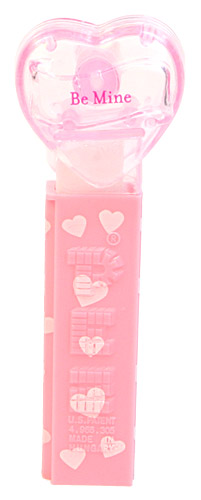 PEZ - Valentine - Be Mine - Nonitalic Pink on Crystal Pink