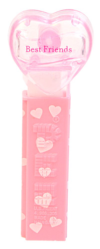 PEZ - Valentine - Best Friends - Nonitalic Pink on Crystal Pink