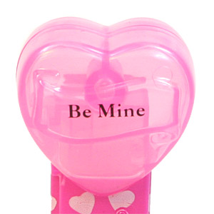 PEZ - Valentine - 2009 short - Be Mine - Nonitalic Black on Cloudy Crystal Pink (c) 2008