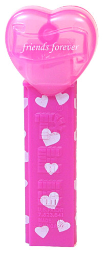 PEZ - Valentine - 2012 Euro - friends forever - Italic White on Cloudy Crystal Pink (c) 2008