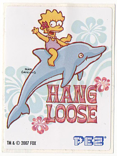 PEZ - Stickers - The Simpsons - 2007 - Lisa Simpson hang loose