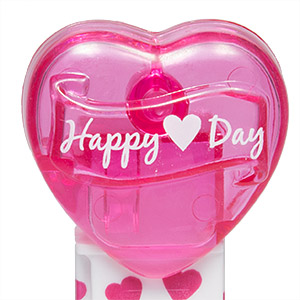 PEZ - Valentine - 2015 - Happy ♥ Day - White on Clear Crystal Pink (c) 2008