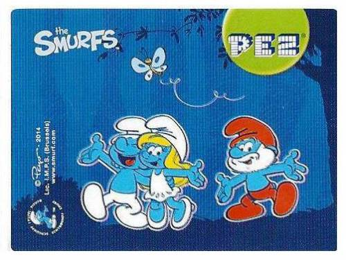 PEZ - Stickers - Smurfs - 2014 - group of three with butterfly