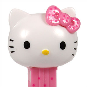 PEZ - Hello Kitty - Hello Kitty - White Head Pink Bow with pink dots