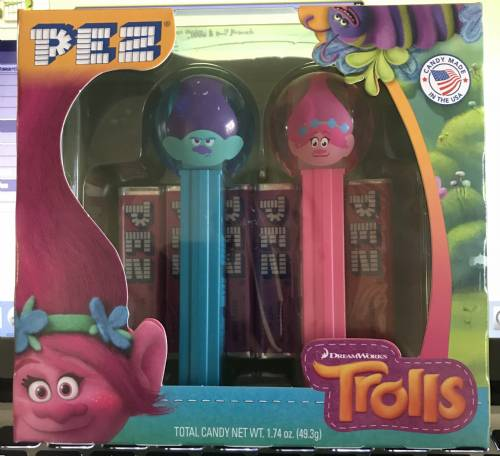 PEZ - Trolls - Twin Pack Ball Poppy & Ball Branch